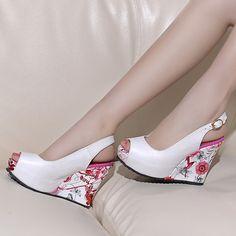 157ff14b66e1 Peep Toe Platform Wedges Sandals Women Pumps Floral Printed High Heels Shoes  Woman 3544