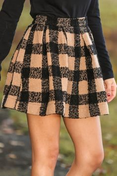 Channel your inner Blair Waldorf! This skirt was made for you! Gorgeous camel & black plaid print skirt! Obsessed!