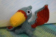 Terry the Pterodactyl - free Paw Patrol inspired crochet pattern from Amigurumination Crochet Dinosaur Patterns, Crochet Patterns Amigurumi, Crochet Baby Toys, Free Crochet, Pokemon, Crochet Dragon, Paw Patrol, Lana, Free Pattern