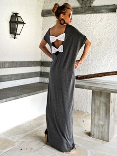 Dark Gray Open Back Bow Maxi Dress Kaftan / Asymmetric Open Back Bow Dress / Oversize Loose Dress / #35080  This elegant, sophisticated, loose and