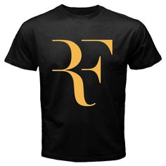 Hot Tee Roger Federer RF Logo Tennis Player Black Mens T-Shirt size S to 3XL price $23,98 free shipping