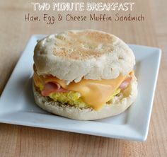 Two Minute Ham Egg and Cheese English Muffin Sandwich