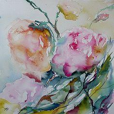 Eglantines (veroniquepiaser-moyen) Tags: flowers flower fleur fleurs watercolor painting aquarelle peinture piaser piasermoyen