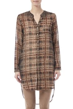 V-neck long sleeve button down tunic with high side slits.   Sheer Top by Mystree. Clothing - Tops - Blouses & Shirts Clothing - Tops - Long Sleeve Iowa