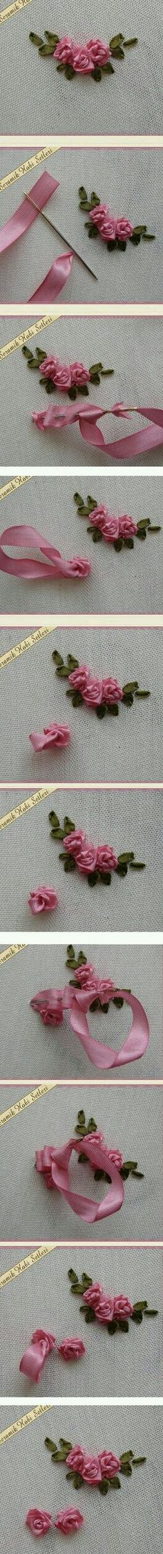 Wonderful Ribbon Embroidery Flowers by Hand Ideas. Enchanting Ribbon Embroidery Flowers by Hand Ideas. Ribbon Embroidery Tutorial, Silk Ribbon Embroidery, Cross Stitch Embroidery, Embroidery Patterns, Hand Embroidery, Flower Embroidery, Machine Embroidery, Ribbon Art, Ribbon Crafts