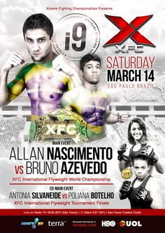 Allan Nascimento, Bruno Azevedo to Fight for Inaugural XFC Flyweight World Championship at XFCi 9 March 14th on Rede TV! - See more at: http://www.addisonsportsmedia.com/2015/02/allan-nascimento-bruno-azevedo-to-fight-for-inaugural-xfc-flyweight-world-championship-at-xfci-9-march-14th-on-rede-tv/#sthash.R0lycrbd.dpuf