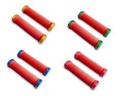 rote-Lenkergriffe-Schraubgriffe-bunte-Klemmringe-MTB-BMX-Dirtbike-Fixie-Enduro