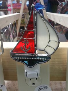 Stained Glass Sail Boat Night Light by VioletGlass123 on Etsy, $25.00