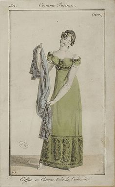 French and English fashion plates from All images come from the collection of the Bibliothèque des Arts Décoratifs. Jane Austen, Regency Dress, Regency Era, Historical Costume, Historical Clothing, Jean Délavé, Mode Costume, Vintage Outfits, Vintage Fashion