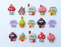 Fairy Mushroom Cottage House Magnet or Brooch Pin by PocketClay