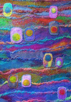 Do some wool SAORI weaving, wet finish to near felt, then sew on felt that has been hand dyed to a marbled effect. Felt Fabric, Fabric Art, Nuno Felting, Needle Felting, Felt Wall Hanging, Felt Pictures, Textile Fiber Art, Textiles, Felt Art
