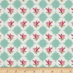 Tanya Whelan Rosey Cameo Rose Teal from @fabricdotcom  Designed by Tanya Whelan for Free Spirit, this cotton print fabric is perfect for quilting, apparel and home decor accents. Colors include shades of pink, ivory and pale teal.