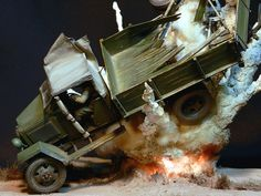 Awesome Diorama Of A Truck In An Explosion - Military Models