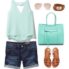 """""""Summer Outfit - Denim, Leather & Mint"""" by virtualdaze on Polyvore"""