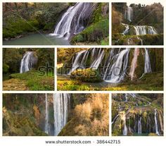 Collage with photos of Marmore fall (Cascata delle Marmore) in Umbria - Italy. #CascataDelleMarmore #Umbria #Waterfall #Marmore #Valnerina #Travel #Nature #Park #Landscape #Microstock #Italy #Vacation #Europe