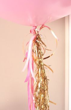 Pink and Gold sparkles on Balloons