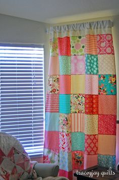 Sewing Curtains Patchwork curtains for Ash's bedroom. - I'm doing patchwork curtain panels for Scarlet's bay window Patchwork Curtains, No Sew Curtains, Boho Curtains, Rod Pocket Curtains, Curtains With Blinds, Panel Curtains, Curtain Panels, Charm Square Quilt, Farm Quilt