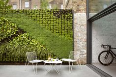 A green wall flanking this patio space on two sides provides the house with a garden without reducing the outdoor entertaining area.