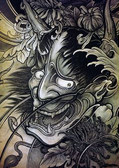 Recognized as a popular symbolic subject in Japanese tattoos. We talk of its history (with some interesting info), significance & tattoo design inspirations. Irezumi Tattoos, Oni Tattoo, Hanya Tattoo, Mask Tattoo, Crow Tattoos, Ear Tattoos, Skull Tattoos, Japanese Demon Tattoo, Japanese Tattoo Symbols