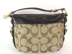 Coach 12657 Brown Zoe Signature C Hobo Purse Hand Shoulder Bag Leather #Coach #ShoulderBag