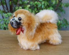 """Vintage Steiff Peky Pekinese Dog, 1314,00, 5""""T, Made in Germany, Free Shipping"""