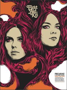 2018 First Aid Kit - Australia Tour Silkscreen Concert Poster by Ken Taylor Tour Posters, Band Posters, Music Posters, First Aid Kit Band, Ken Taylor, Australia Tours, Grafik Design, Concert Posters, Character Illustration