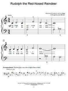 Image Result For Easy Piano Sheet Music Rudolph The Red Nosed Reindeer