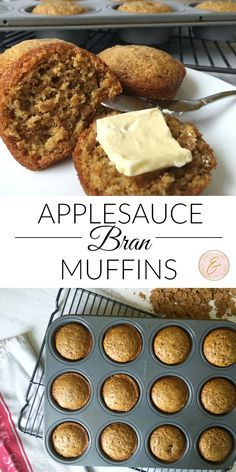 These bran muffins are sweetened with honey and substitute oil for applesauce. They are so sweet and delicious Apple Recipes, Baking Recipes, Dessert Recipes, Bread Recipes, Amish Recipes, Sweet Recipes, Cake Recipes, Healthy Breakfast Muffins, Best Breakfast