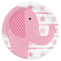 Pink Elephant paper plates, great for birthday parties, baby showers, or any occasion if you love elephants! Features a big pink elephant with polka dotted ears and a pink stars on white background.