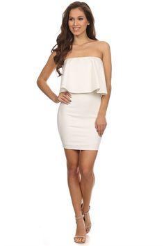 Moonlight Serenade Strapless Dress - Off White