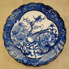 Vintage Japanese Blue-White Plate (Porcelain Dish)