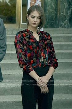 Thea's rectangle patterned blouse on Arrow.  Outfit Details: https://wornontv.net/61572/ #Arrow