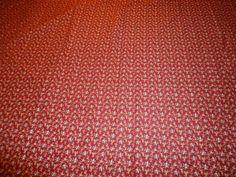 "Vintage Scrap Fabric/Material.  Burgundy Floral Motif. .  240"" X 42"" #Unbranded"