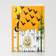 Black Cat on a Spooky Fence - Halloween Stationery Cards