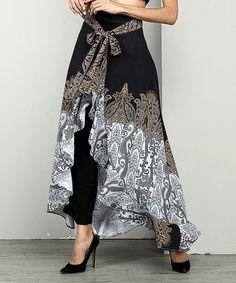 Look what I found on #zulily! Black Paisley Chiffon High-Waist Ruffle Palazzo Pants - Plus #zulilyfinds