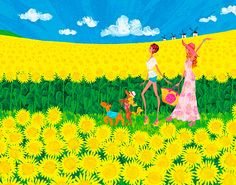 Summer, Sunflower , Girls with dogs | Illustration by masaki ryo