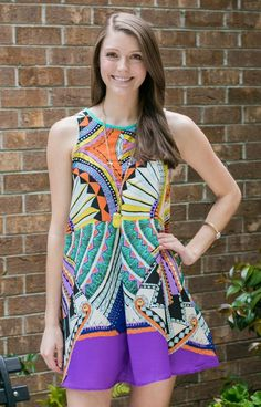 Karlie BD3916KPUR is a gorgeous, colorful dress that is perfect for summer parties, night's out, or weddings. We are loving this bright print and key hole cut out in back!