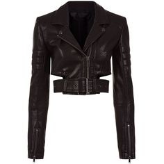 Haider Ackermann Black Leather Cropped Biker Jacket ($1,445) ❤ liked on Polyvore featuring outerwear, jackets, tailor leather jacket, moto jackets, motorcycle jacket, biker jackets and cropped leather jacket