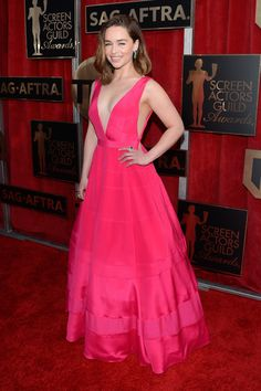 Fabulously Spotted: Emilia Clarke Wearing Dior - 2016 Screen Actors Guild Awards - http://www.becauseiamfabulous.com/2016/01/31/fabulously-spotted-emilia-clarke-wearing-dior-2016-screen-actors-guild-awards/