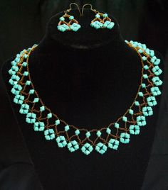Desert Snare: Netted Necklace and Earring Set. $12.00, via Etsy.