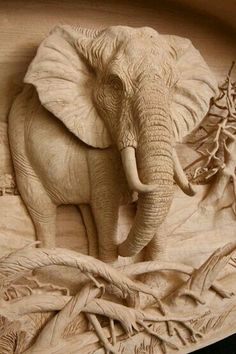New Wood Carving Elephant Wooden Animals Ideas Wood Carving Patterns, Wood Carving Art, Carving Designs, Wood Carvings, Art Sculpture, Sculptures, Sculpture Ideas, Plaster Art, Elephant Art