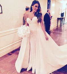 Sofia Vergara #wedding dress by Zuhair Murad. The Dress by the Numbers To say Vergara's couture dress was labor-intensive would make for a colossal understatement. Here, a few facts and figures of what went into it: Approximately 11 pounds of sequins Approximately 6.6 pounds of pearls 350 crystals 32 atelier employees working on the gown 1,657 total hours of labor