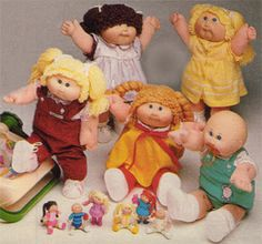 Cabbage Patch dolls <3 I really wanted a bald one or one with long hair, but my mother got me one with short hair :/ Doh! Still loved her though. And their smell...what was that?