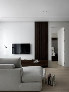 Apartment in Moscow: cozy minimalism of 55 m² Elle Decor, Minimalist Design, Minimalism, Flats, Living Room, Interior Design, Design Styles, Basement Ideas, Moscow
