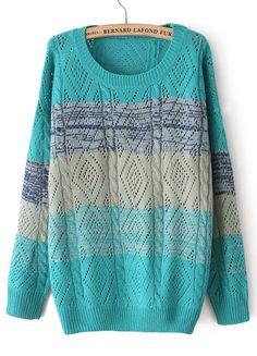 Blue Long Sleeve Hollow Diamond Patterned Sweater - Sheinside.com