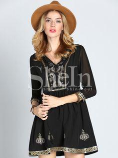 Black V Neck Sequined Dress -SheIn(Sheinside)