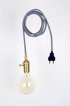 Hängelampen - Edison Vintage Lampe 3 Meter S/W Textilkabel - ein Designerstück…
