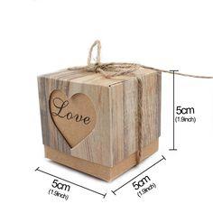 c5eff8b0b6 AerWo 50pcs Candy Favor Boxes Vintage Kraft Bonbonniere 50pcs Burlap Twine  Love Heart Imitation Bark Gift