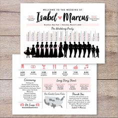 party timeline Silhouette Wedding Party Program, Infographic Wedding Program, Wedding Timeline and Program, Wedding Party Program, Unique Wedding Program Unique Wedding Programs, Wedding Timeline, Ceremony Programs, Unique Weddings, Wedding Newspaper, Wedding Silhouette, Thank You Messages, First Dates, Wedding Desserts