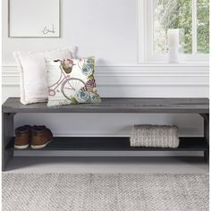 Include this beautiful bench in your hallway or entryway for some additional storage, seating, and style. The distressed, reclaimed wood design is sure to complement your decor and add a wonderful rustic Living Room Bench, Living Room Modern, Living Rooms, Wood Storage Bench, Wood Shelves, Bench Mudroom, Shoe Storage, Small Entryway Bench, Narrow Entryway